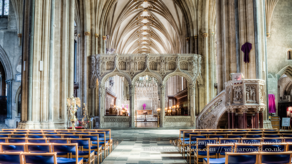 Bristol Cathedral Rood screen and pulpit