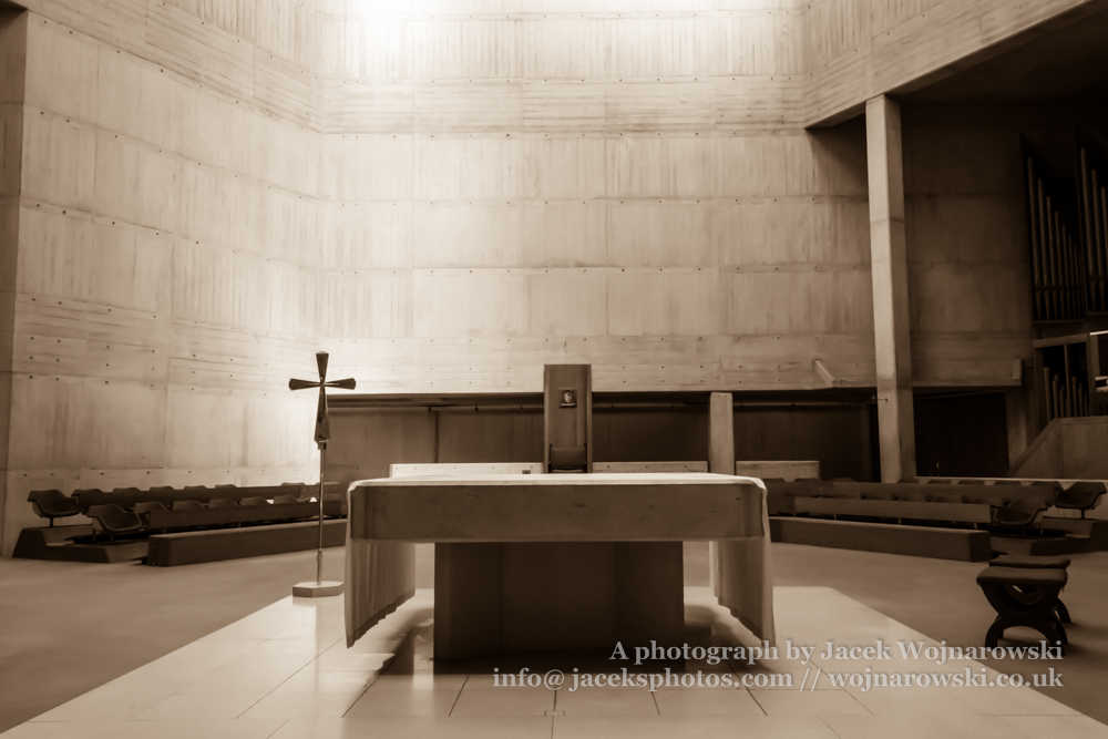 Clifton Cathedral altar, Bristol, England, UK, sepia tone
