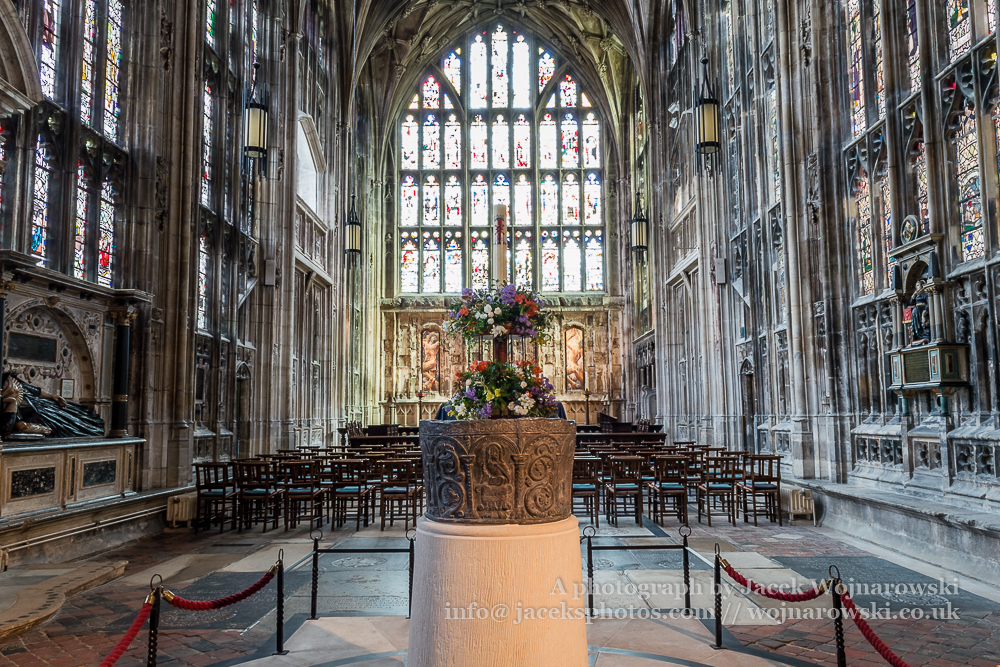 Gloucester Cathedral inside - font Lady Chapel