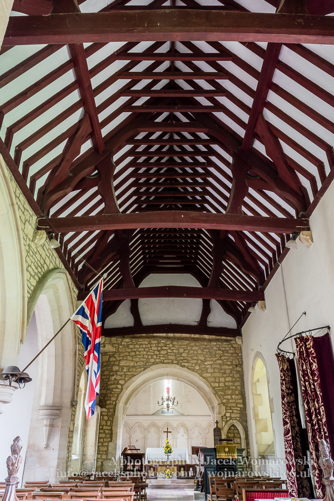 Brookthorpe, St Swithun, 13th-century church with Victorian additions - ceiling