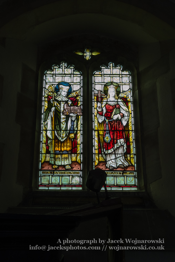Brookthorpe, St Swithun, 13th-century church with Victorian additions - stained glass