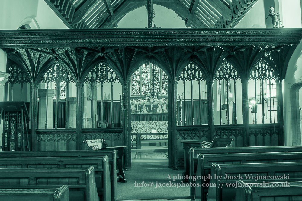 Church of St. Michael Rood screen, The Parish of Minehead, black and white photography split toning