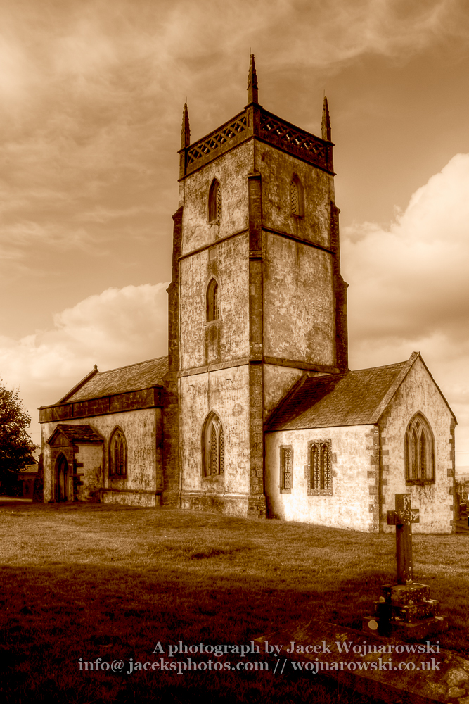 Church of The Blessed Virgin Mary North West Facade HDR sepia in Somerset, England is medieval in origin but underwent extensive renovation in the 18th century