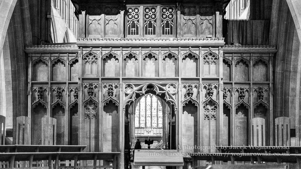 Wells Cathedral The rood screen viewed from the nave horizontal black and white photography