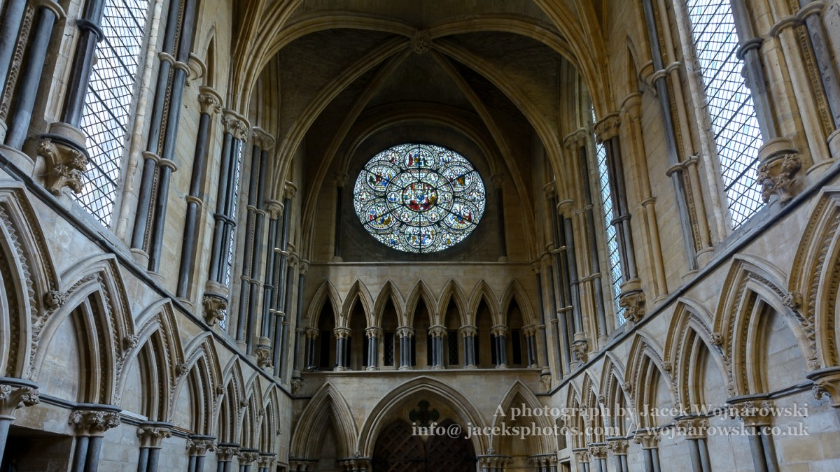 Rose West Window and Ceiling of Chapter House, Stained Glass in Lincoln Cathedral
