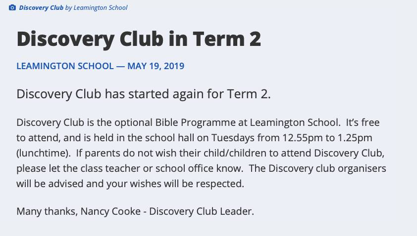Scan of notice about bible programme at Leamington School
