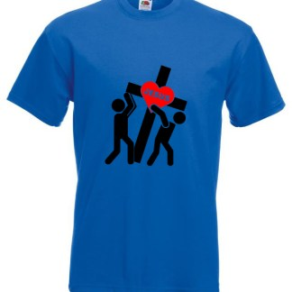Jesus Carrying Cross Blue Tee