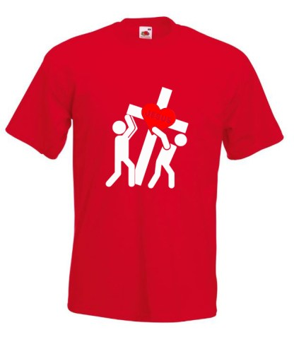 Jesus Carrying Cross Red Tee