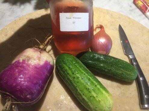 Pickling turnips, cucumbers and a shallot!