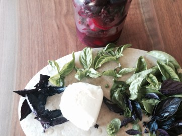The makings of a Beet Caprese Salad