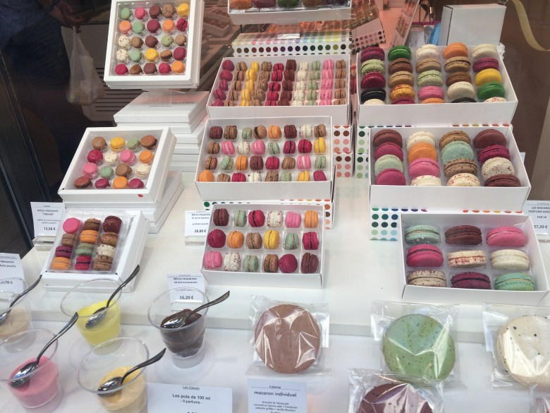 A gorgeous display of French macarons in Paris.