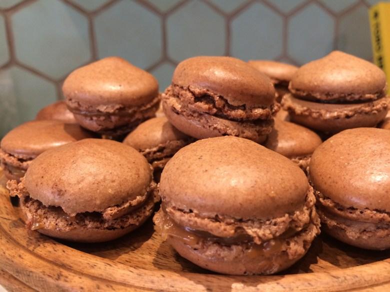 Chocolate and caramel macaron