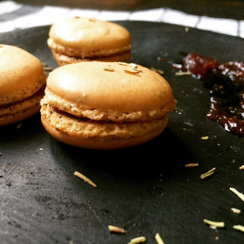 Balsamic rosemary macaron with fig filling.
