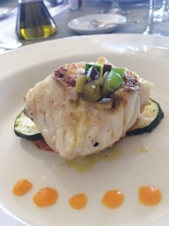 Grouper on roasted veggies.