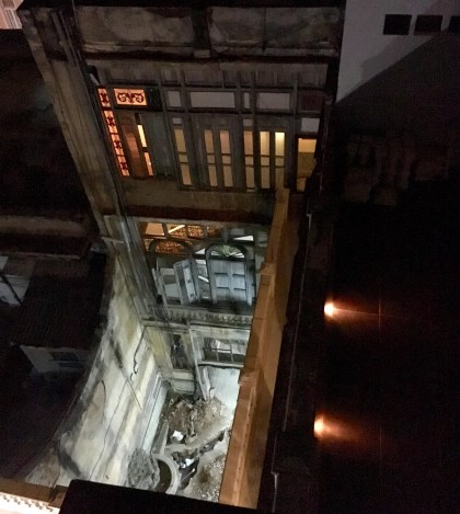 Looking down from the terrace.