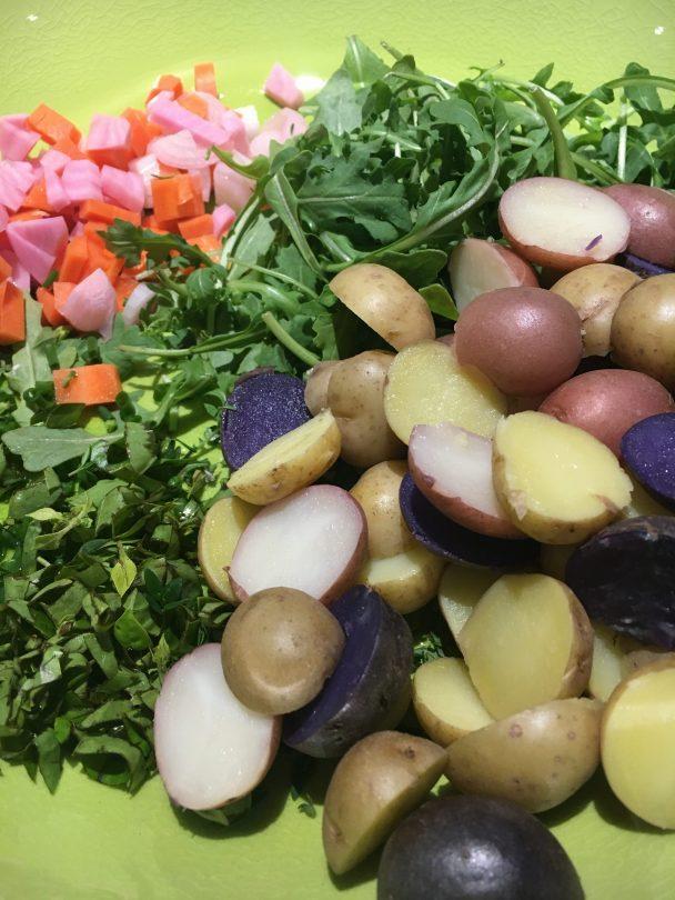 Potatoes, herbs, arugula and pickled veggies!!