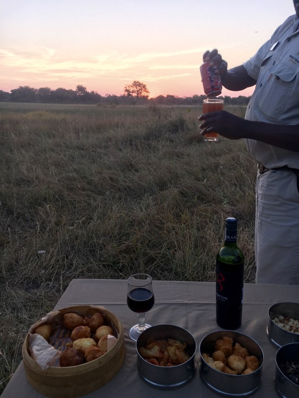 Sundowners after a game drive at Baine's Camp