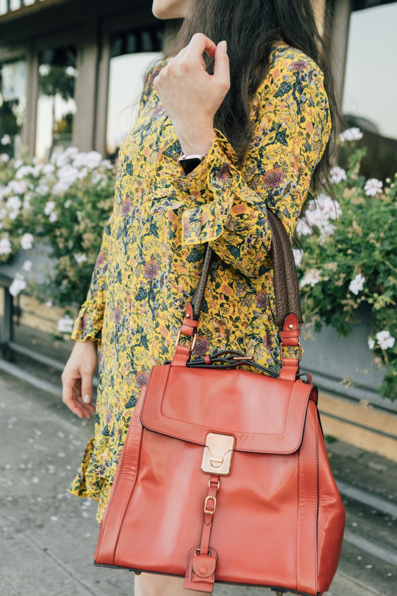 Los Angeles blogger, RELish By Arielle, wears a Madwell Karen Walker dress and Chloe Darla Bag