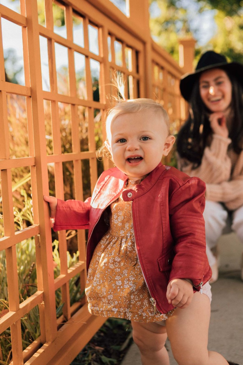 Los Angeles blogger, RELish By Arielle's daughter wears a red Moto jacket