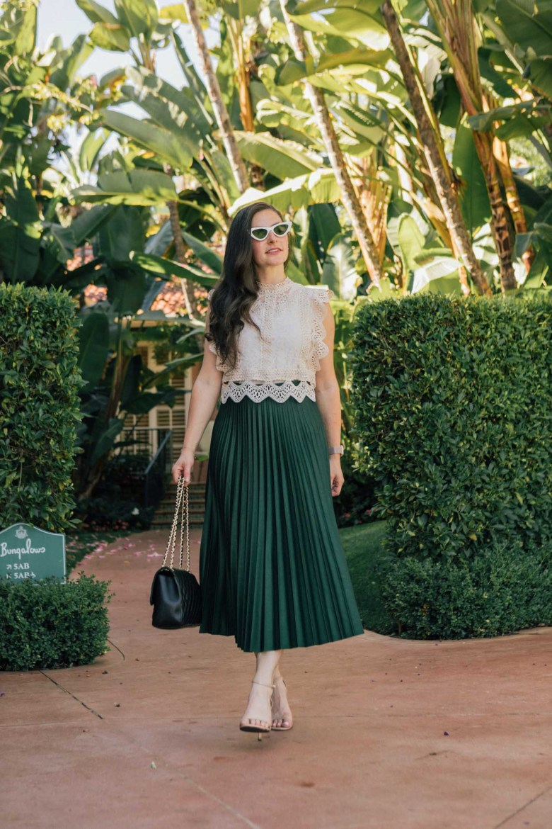 Los Angeles blogger, RELish By Arielle, wears a green maxi skirt