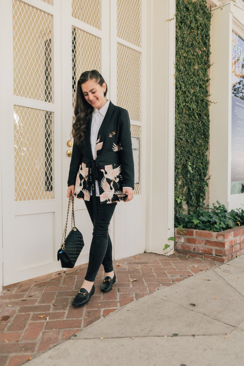Los Angeles blogger, RELish By Arielle wears a kimono-inspired blazer