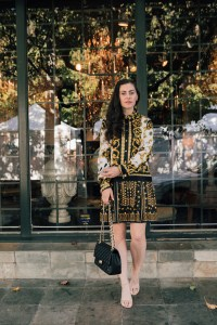 Los Angeles blogger, RELish, wears a scarf dress from Zara