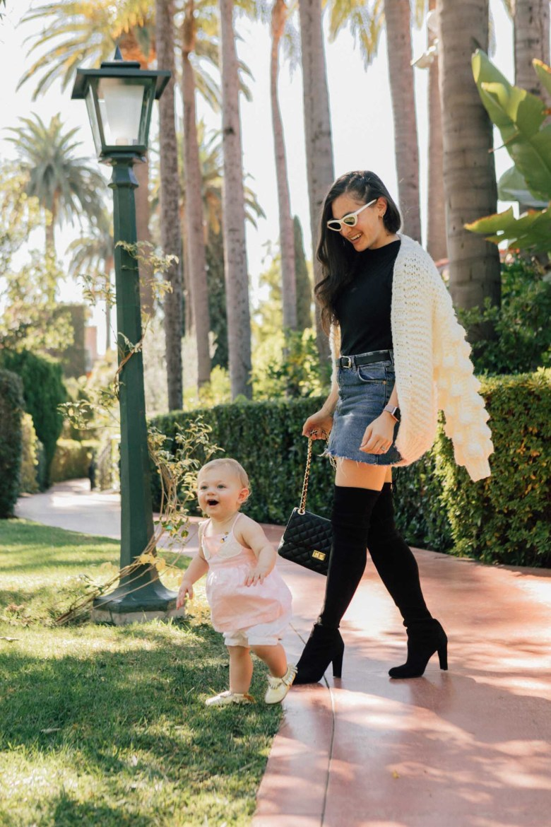 Los Angeles style blogger, RELish By Arielle wears black over the knee boots