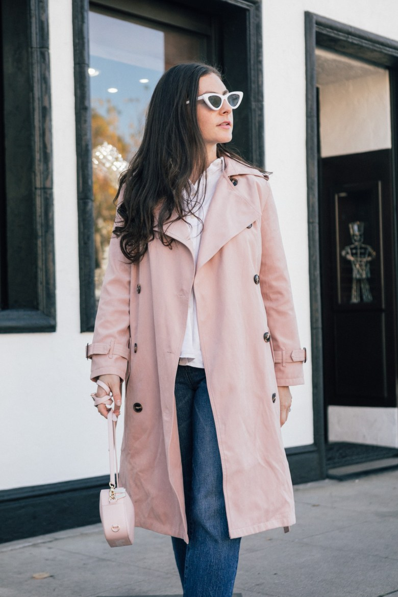Los Angeles style blogger, RELish By Arielle wears a pink trench coat by Chicwish