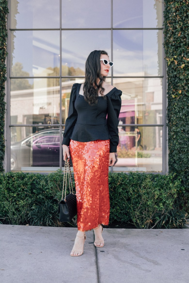 "Los Angeles blogger, RELish, wears a sequins red skirt from Zara inspired by ""The Marvelous Mrs. Maisel"""