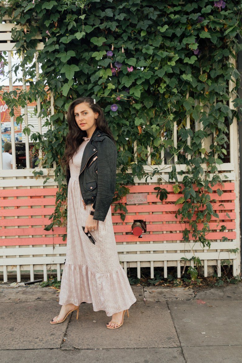 Los Angeles Blogger, RELish By Arielle wears a pink metallic holiday dress from ASOS