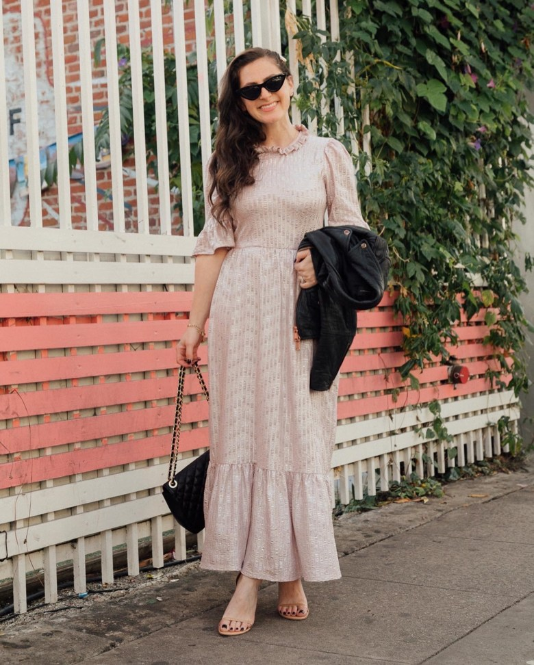 Los Angeles mom blogger, RELish By Arielle wears a metallic dress from ASOS