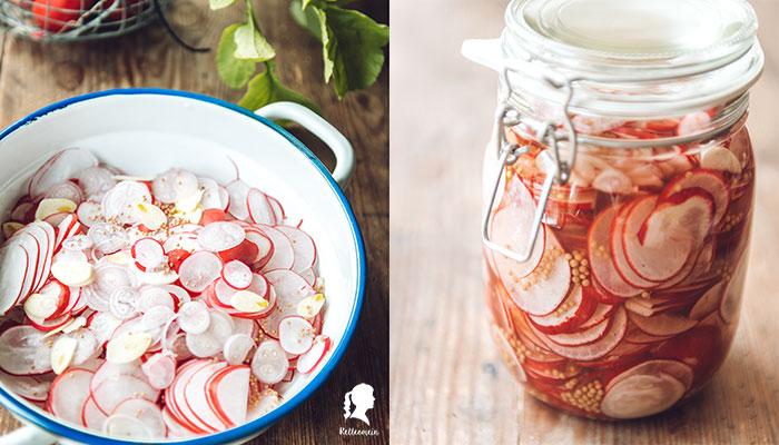Eingelegte Radieschen - Kühlschrank Pickles | relleomein.de #weck #vegan