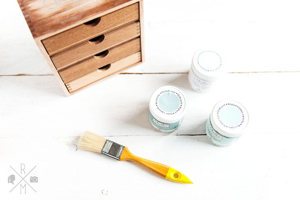 Frühjahrsputz 2017 - Büroorganisation - Briefmarken, Briefe, Post organisieren - DIY Aufbewahrung mit Schubladen und Kreidefarbe - upcycling Holzregal   relleomein.de