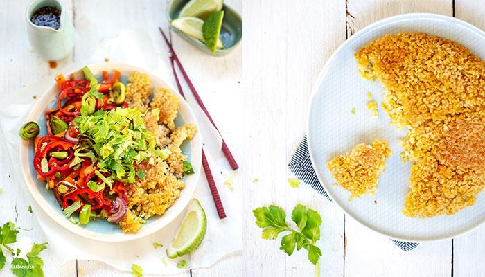 Gebratener Reis mit knackigem Gemüse und einer würzigen selbst gemachten Stir Fry Soße | relleomein.de #vegan #reiskocher #stirfry