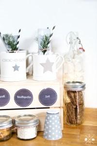 Kakaobar - heißer Kakao - Weihnachtsdekoration für die Küche - Hot Chocolatebar   relleomein.de