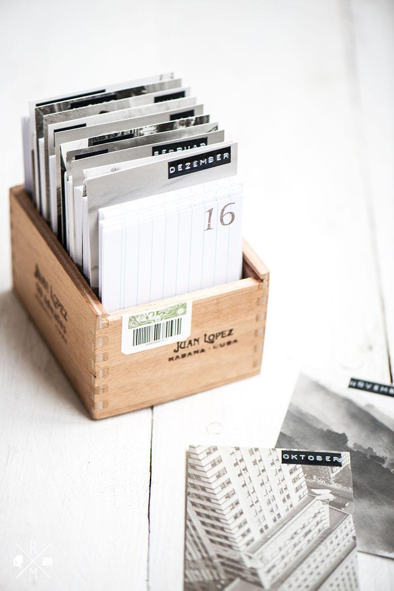 DIY :: Zigarrenkisten Upcycling als Kalender mit Karteikarten | relleomein.de #diy
