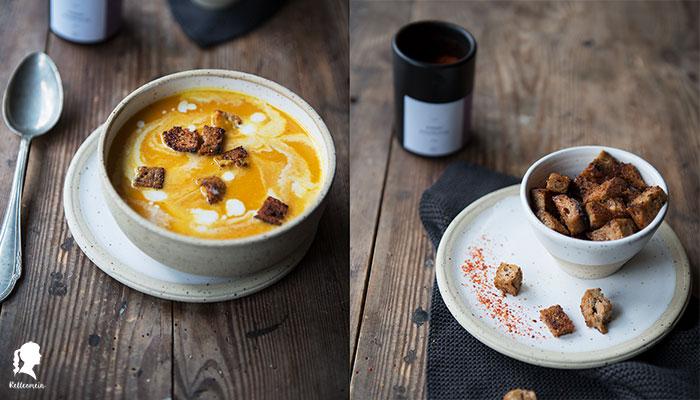 Kürbissuppe mit Ingwer und Kokosmilch - scharfe Croutons mit Ahornsirup - Vegeanes Rezept - Thermomix Rezept | rellemein.de #veganerezepte #kürbisrezept #thermomix