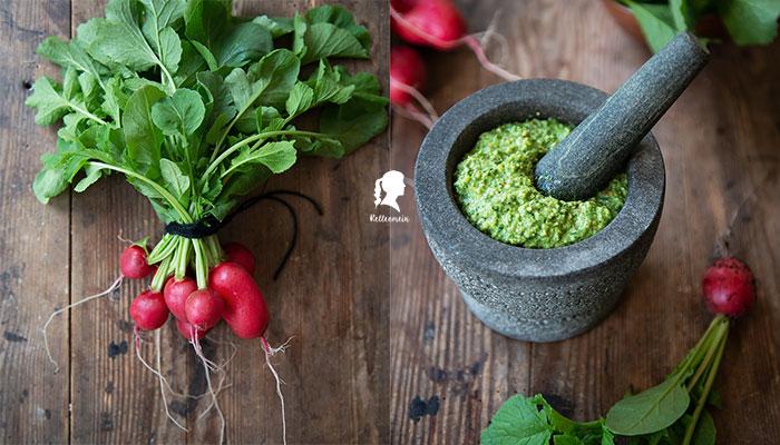 Radieschengrün - Pesto aus Radieschenblätter - Radieschen Rezept   relleomein.de #radieschen #vegan #einkochen