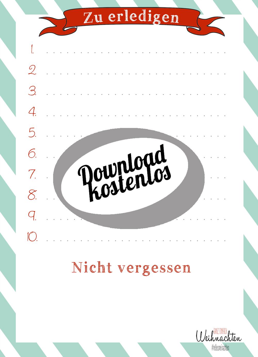 Todo Liste als kostenloser Download - Weihnachtsliste   relleomein.de