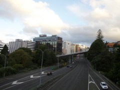 Blick über den Motorway (es ist Sonntag, ist also nicht viel los)