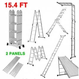 Escalera de extensión plegable de aluminio multiusos Finether con bisagras de seguridad y 2 paneles, capacidad de 330 lb.