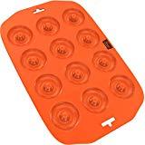 Bandeja de silicona para mini rosquillas de rosquilla de silicona - 12 agujeros - Silicona antiadherente de primera calidad, grado alimenticio puro - Naranja - Cocina como un profesional