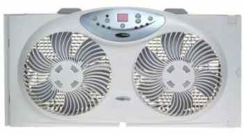 Ventilador de ventana de flujo de aire reversible doble Bionaire con control remoto