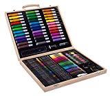 Conjunto de arte portátil SunRise para niños   Variedad de 131 piezas, Dibujo, Pintura, Lápices de colores, Lápices de colores, Marcadores   Con caja de madera