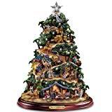 Brillante árbol de la mesa de la natividad Thomas Kinkade: Gloria al Rey recién nacido de Hawthorne Village