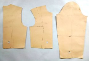 Back, front and sleeve basic bodice blocks. They are taken from individual measurements and made to fit as a second skin.