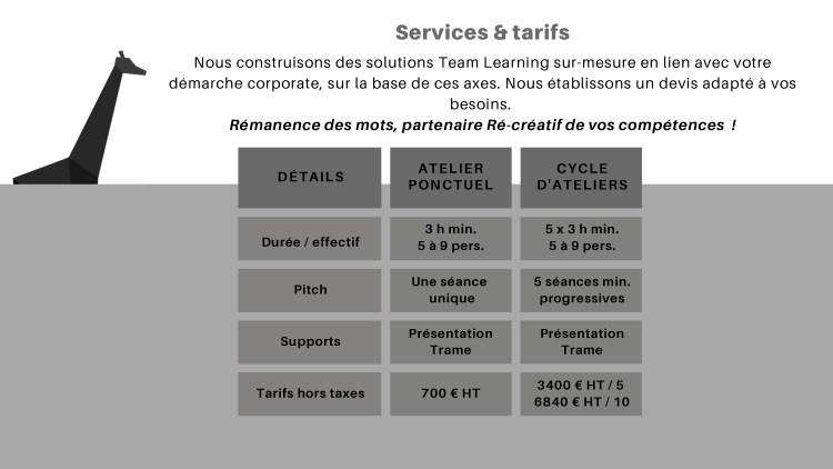 TEAM LEARNING & SÉMINAIRES - service tarifs