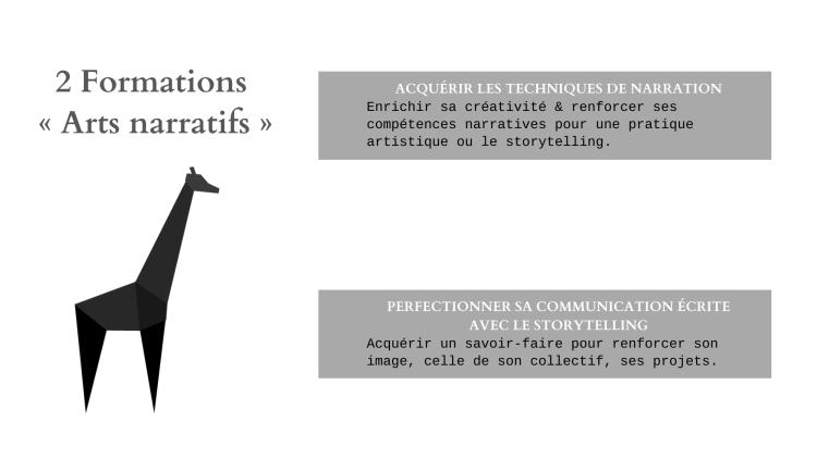 Arts narratifs - 2 formations