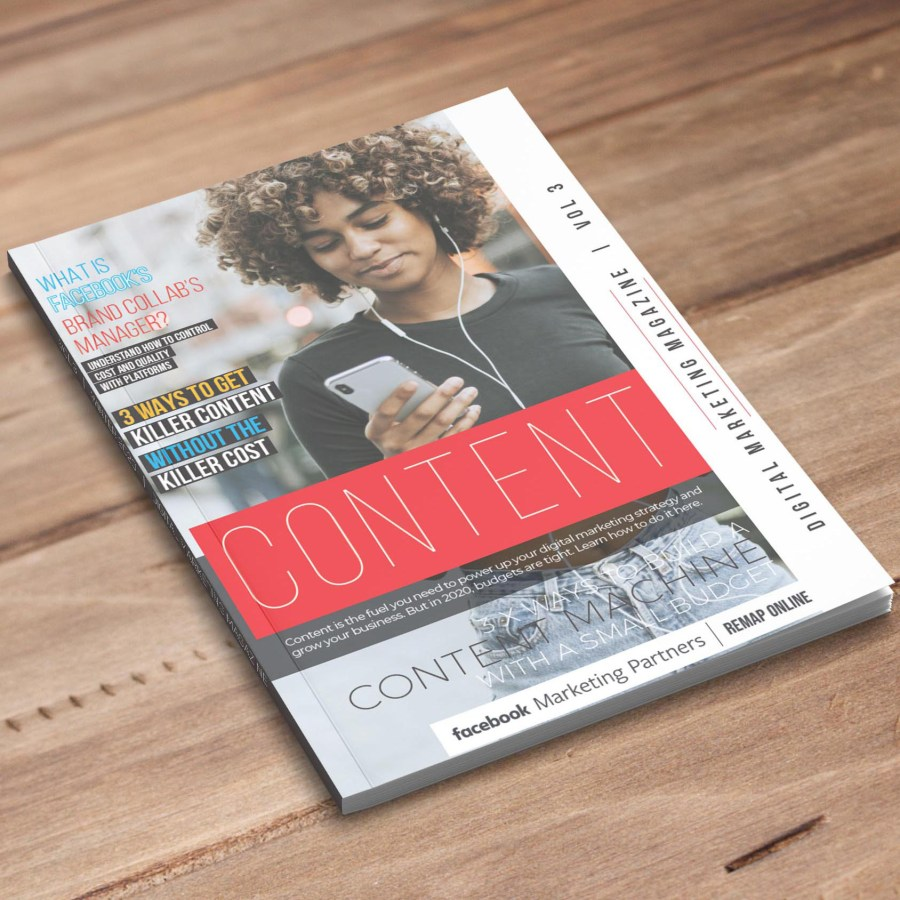 volume 3 of digital marketing magazine laying on office table