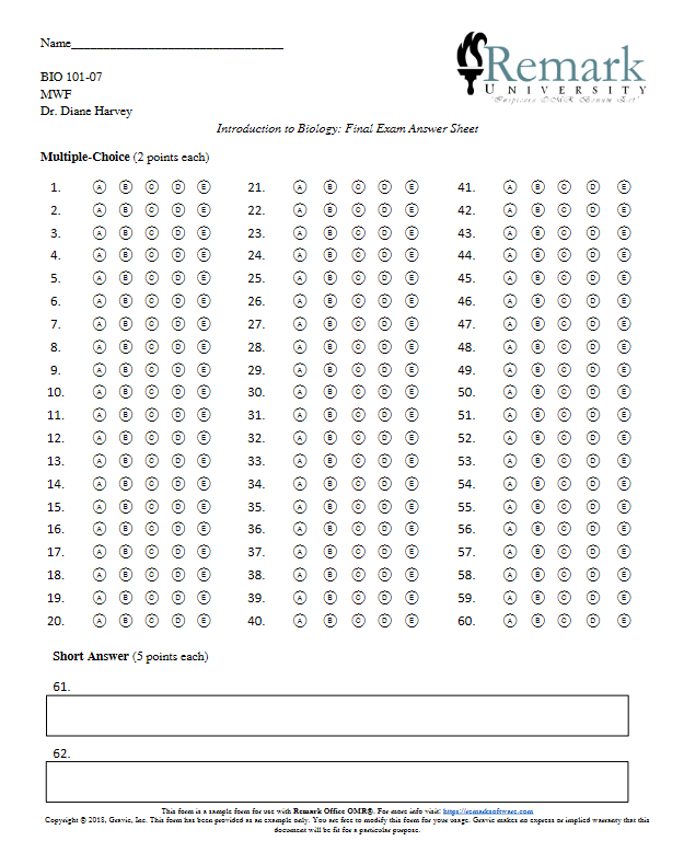 Multiple Choice Answer Sheet Creator